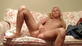 Blonde lascivious bitch is fingering her wet lascivious fanny deep
