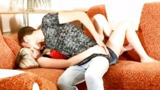 Little girlfriend lying on this home video and sucking her boyfriend's lascivious long cock