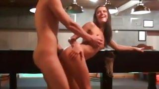 Watch this brunette girlfriend being drilled brutally on pool table