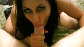 Hot seductive brunette licking off sweet fresh cum from hard penis