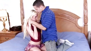 Blonde babe in her sexy miniskirt about to have sex with this dude