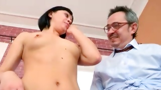 Older guy is staring at this topless beauty before fucking