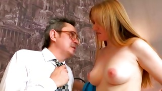 Red haired chick gets her fine melons sucked on hard core