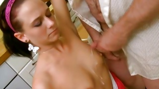 Teen whore on her knees getting mouth fucked rough