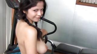 Juicy looking perky girlfriend is going deep throat on a huge boner