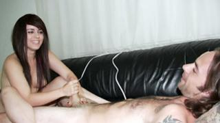 Tattooed pecker adores how this sexy slut handfucks his shaft