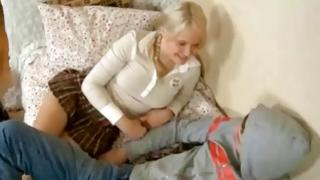 Blonde girl in uniform is getting her fucked in a rough doggy glory