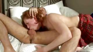 Cocksure mouth-watering curly chick is eating away a sex toy her bf is feeding her