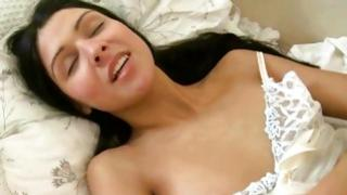 The sweetest hot wife is shoving her fine vagina with ravishing vibrator