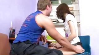 Watch on built guy who is touching the legs of effective immature chick