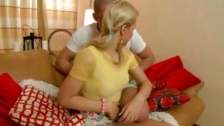 Dirty blonde is getting on her knees and she is blowing boner