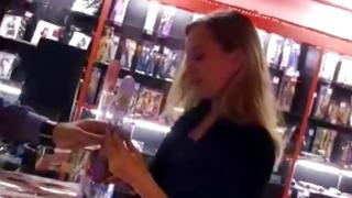 Creepy bitch is in the store trying to seduce this dude for act of love