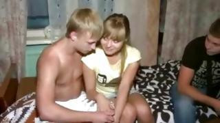 Blond pal doesn't want to watch on the unrestricted couple