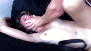 Dude is holding her head while this babe is thrusted raw doggy