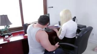 Filthy dude is kneeling near amazing whore