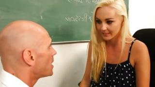 Light haired gorgeous bitch is watching hot on blackboard