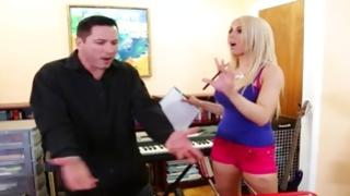 Blonde marvelous chick is screaming with huge man