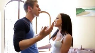 Salacious cute bitch making weird faces before a guy