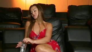 Strong dude is observing a beauty while she knob blowing