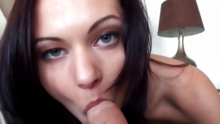 Dark haired horny babe is sucking amazing schlong