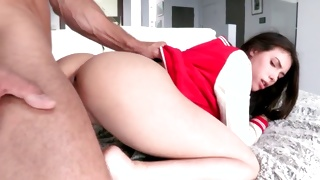 Tight anal hole of this bitch is filled with a boner