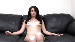 Shaved hole of this whore is pounded deep inside