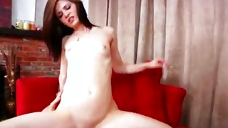 Hot babe with small tits banged from behind deep inside